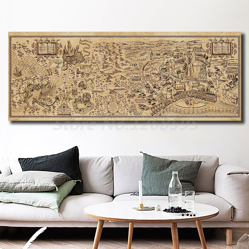 Map of The Wizarding World of Harry Potter Poster Decoration Home Bar Wall Art