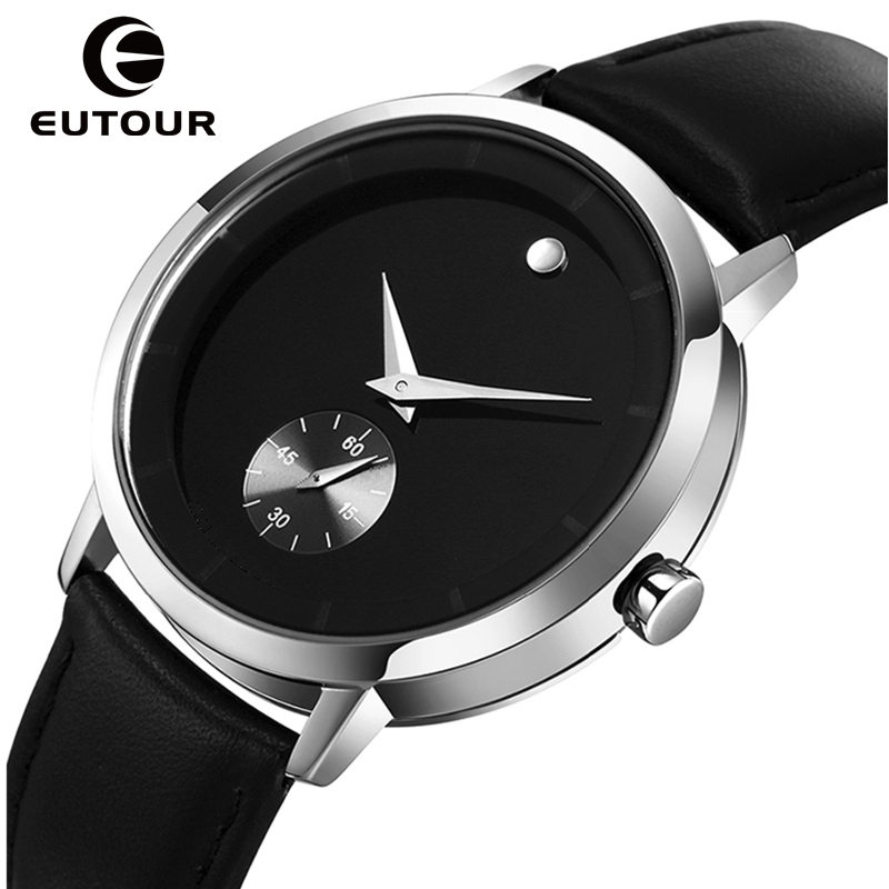 EUTOUR Male Clock Leather Strap Men Quartz Watches Waterproof Top Brand Luxury Brand Fashion Men Watches Casual Wristwatches xinge top brand luxury leather strap military watches male sport clock business 2017 quartz men fashion wrist watches xg1080