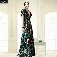 ea227f9e3fb Tang 2019 Runway Vintage Boho Polka Dot Long Dress Short Sleeve Green  Elegant Women Fashion Designer