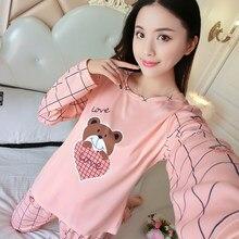 d83c84cdb32d Оптовая продажа Тонкий пижамы наборы Демисезонный Для женщин длинные пижамы  костюм милый мультфильм шаблон Для женщин