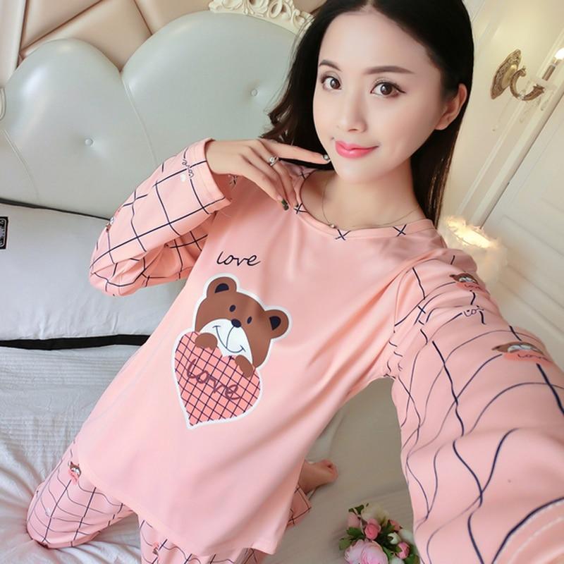 Wholesale Thin   Pajamas     Sets   Spring Autumn Women Long Sleepwear Suit Cute cartoon pattern Women Female Sleepwear