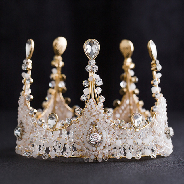 The new big-name fashion bridal crown exquisite handmade crystal glass bead crown headdress celebration dinner wearing jewelry