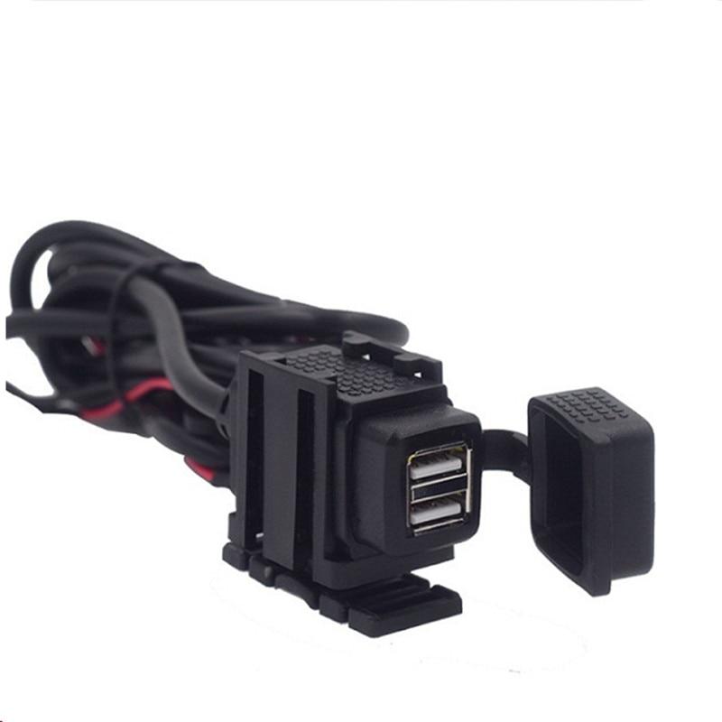 Dual USB Port 12V Waterproof Motorbike Motorcycle Handlebar Charger Adapter Power Supply Socket For Phone GPS MP4 DC 5V 2.1A