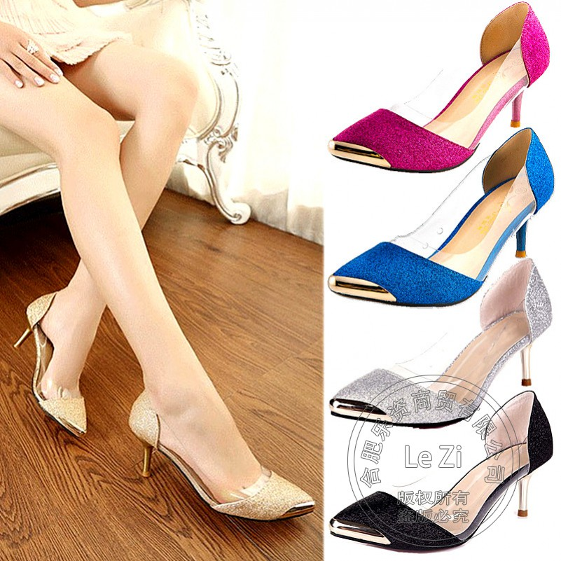 Sequined Cloth Transparent Fashion Sexy Low Cut Uppers 2015 Wedding Work Large Size font b Womens