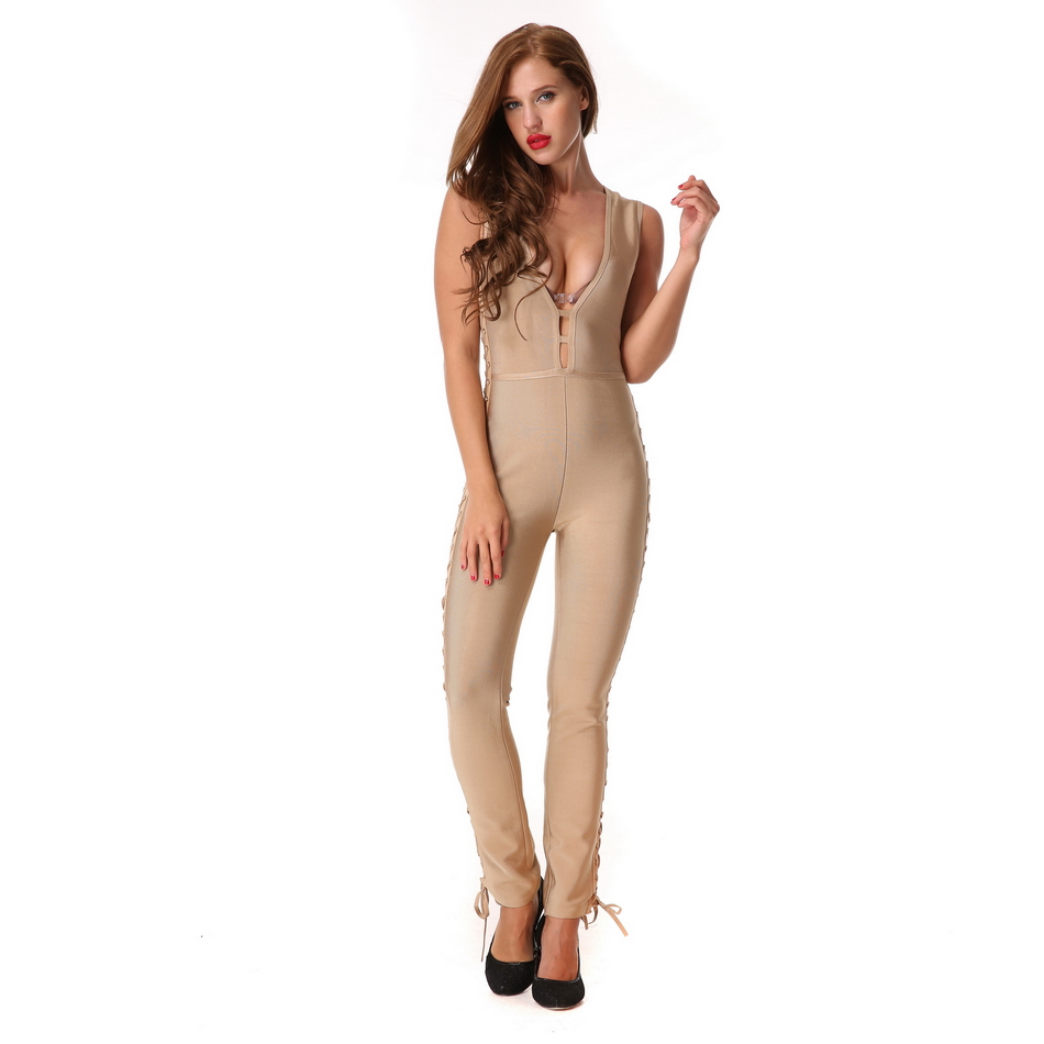 Sexy Jumpsuits Rompers Sleeveless Women Hollow Out Long Pants Ladies Overalls Club Evening Party Solid Elegant