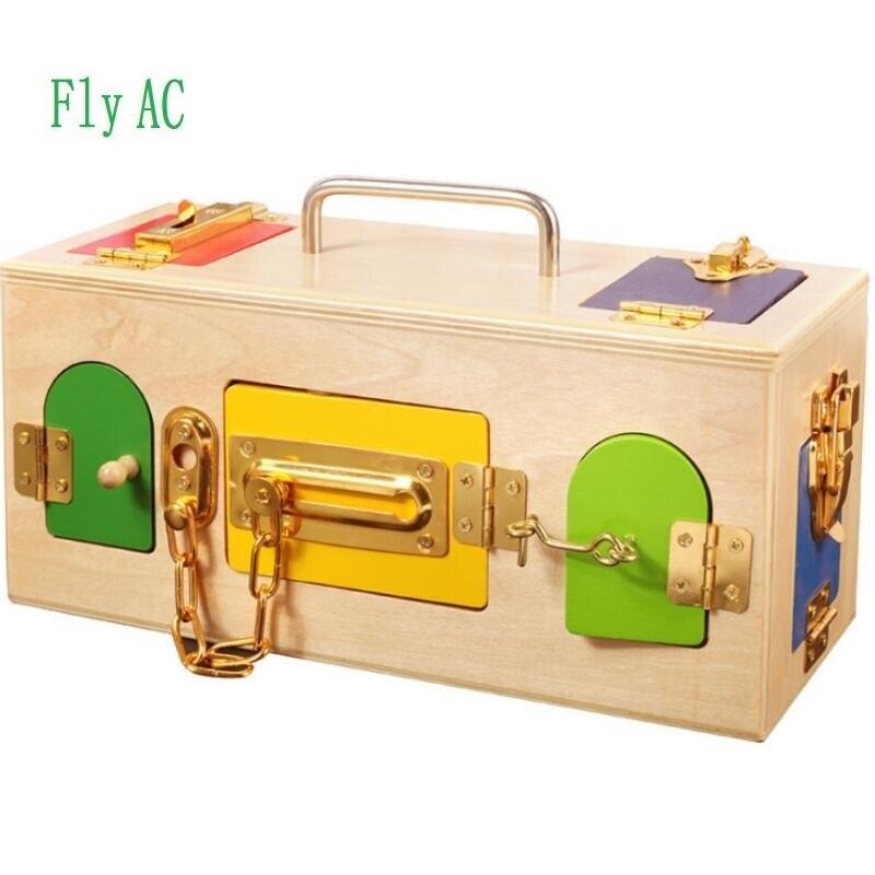 1 ENSEMBLE jouets montessori Serrure Boîte En Bois Matériaux Sensorielles jouets en bois éducatifs Pour Enfants Bébé jouets pour enfants