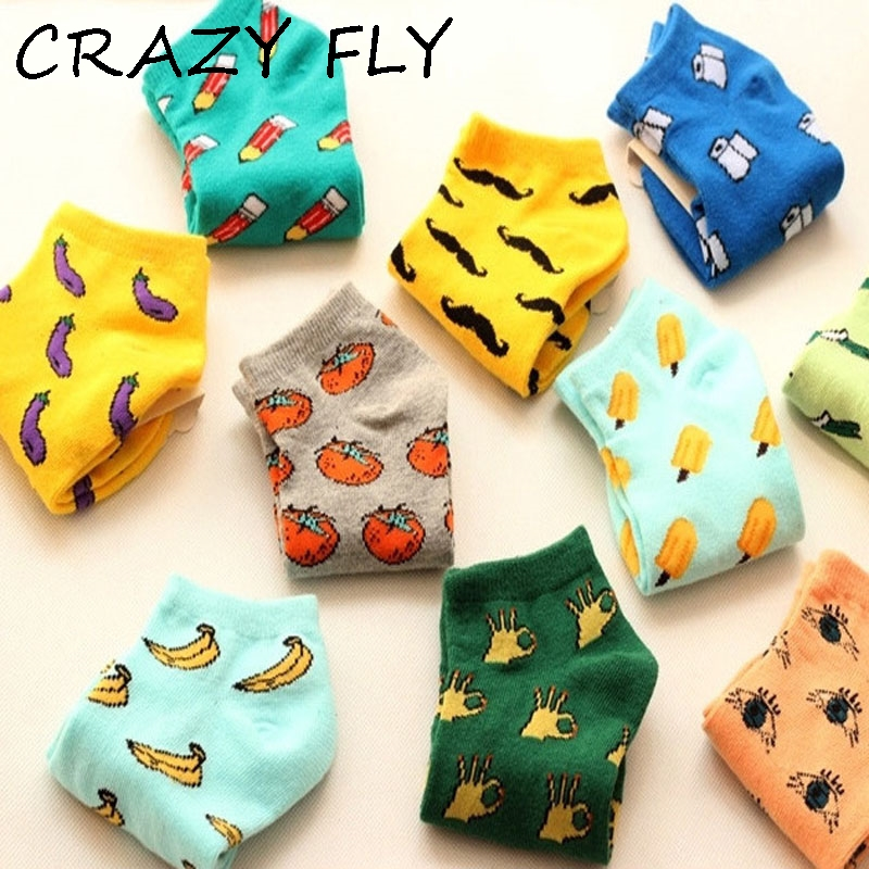 CRAZY FLY Funny Happy Socks Summer Cute Harajuku Novelty Cotton Ankle Socks Fashion Banana Fruit Food Women Short Funny Socks