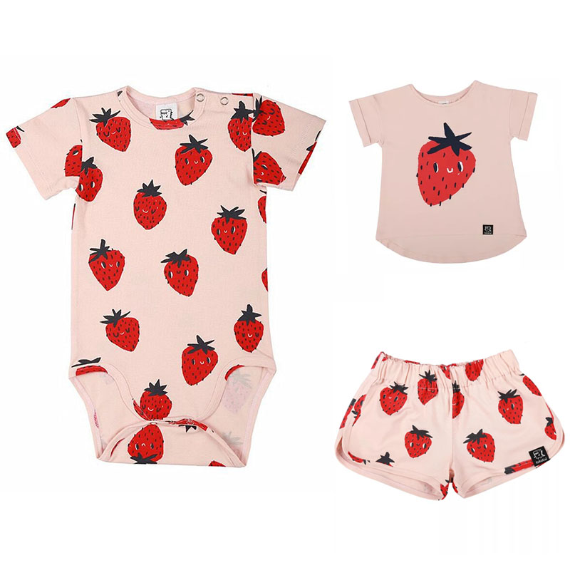 EnkeliBB 2018 Summer Infant Fashion Brand Rompers Pink Strawberry Pattern One-piece For Baby Girls Full-Print Fruit Romper