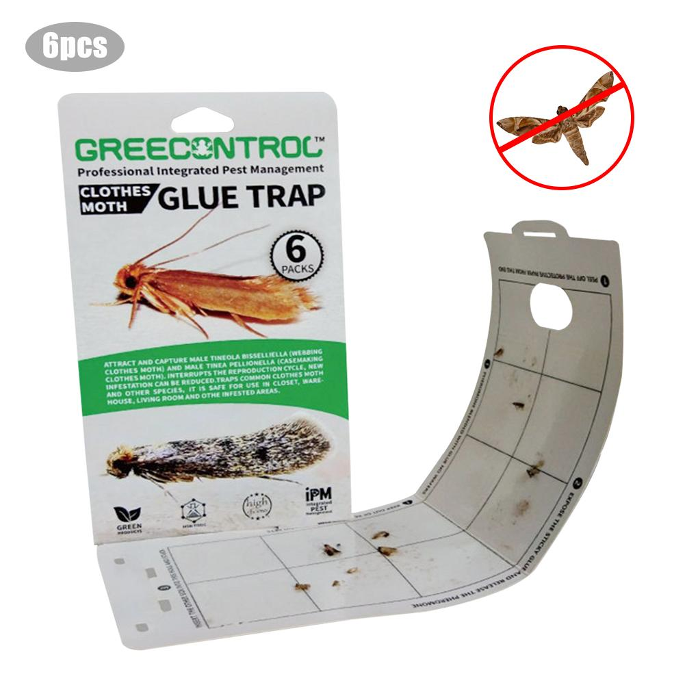 6PCS Clothes Pantry Food Moth Trap Pheromone Killer Paste Sticky Glue Trap Pest Reject Fly Moth Family Factory Restaurant