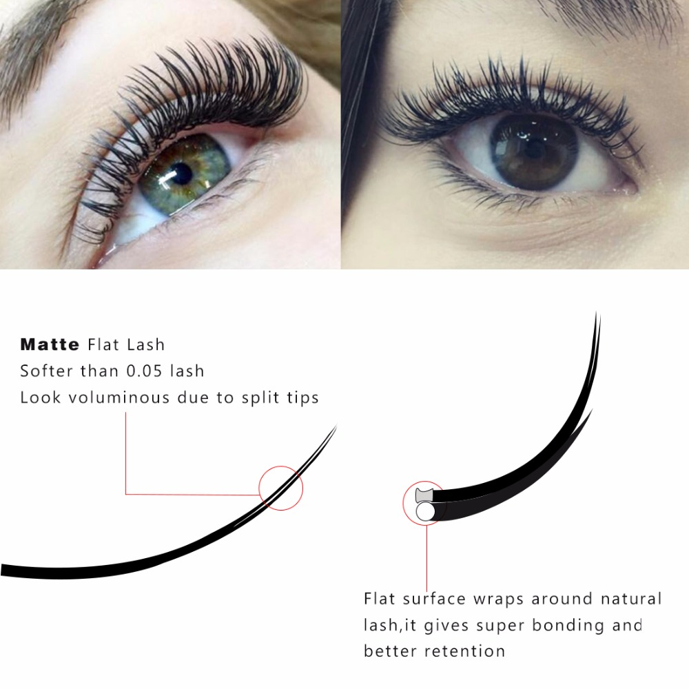 7ac0b33638a Aliexpress.com : Buy New Matte Flat Eyelash Extensions Individual Mink 0.15  0.20 Softer Ellipse Flat Lash Split Tips Ligher Volume Looking from  Reliable ...