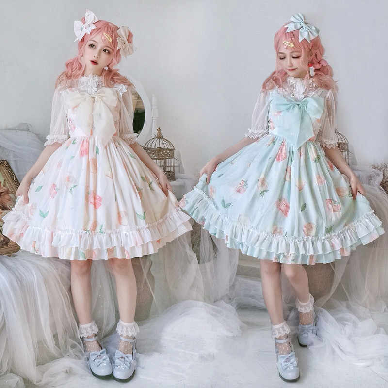 Japanese kawaii girl sweet lolita dress cute printing lace bowknot high waist vicotrian dress gothic lolita jsk loli cosplay