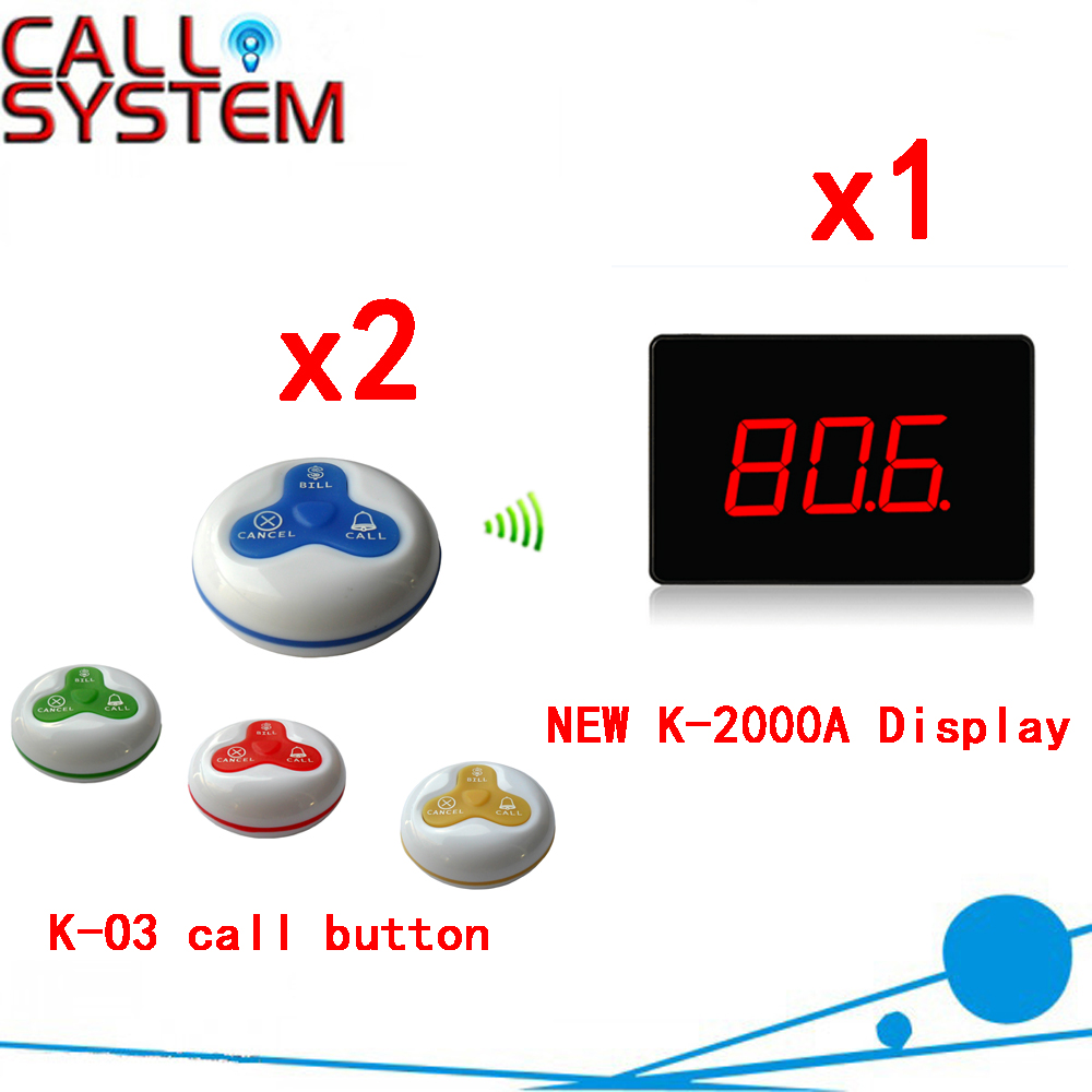 Wireless Table Call Paging System With Show 3-digit Number Display And 100% Waterproof Call Bell( 1 display+ 2 call button ) wireless table call bell system k 236 o1 g h for restaurant with 1 key call button and display receiver dhl free shipping