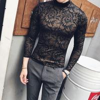 2017 Turtleneck T-shirts Mens Thin Gold Printed Knitted t-shirts Mens Flowers Camisa Slim Fit Night Club Outfits Winter Black