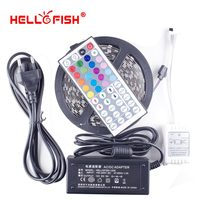 Witaj Ryby 5 M 5050 300 SMD RGB Elastyczne LED Pasek Światła i 44 klawiszy Pilot Zdalnego Sterowania + 12 V 5A 60 W Zasilacz zestaw