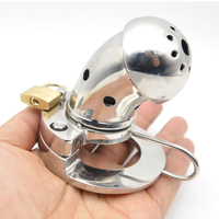 Male Chastity Cages Stainless Steel Cock Cage Rings Metal Lock Bending Open Type with Urethral Sounds Sex Products for Men G215
