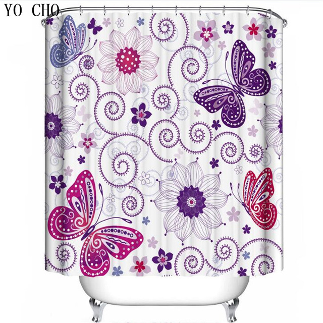 YO CHO purple shower curtains bathroom products forest green ...
