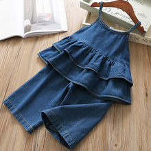 Peuter Baby Kids Kleding Meisjes Denim Riem Ruches Tops Solid Jeans Casual Outfits Set vetement enfant fille bebek giyim(China)