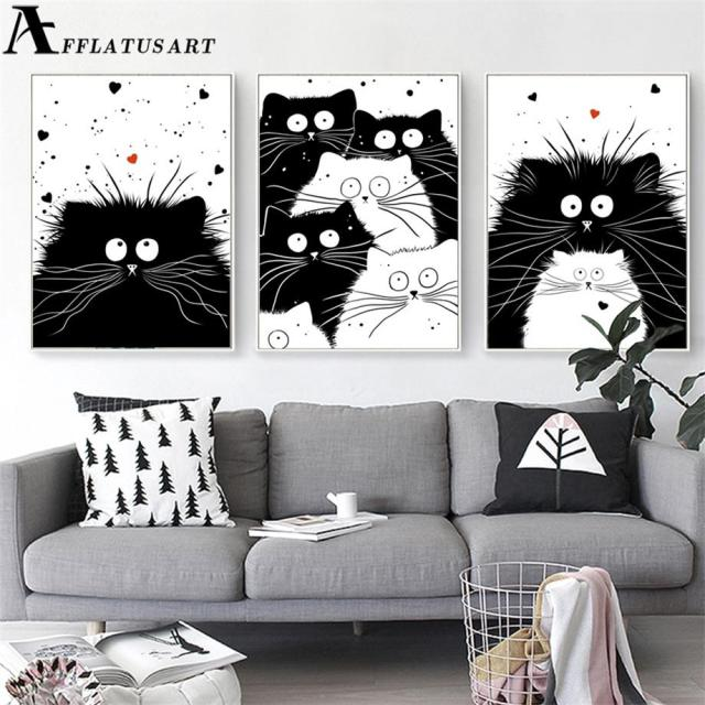 Black White Kawaii Cat Wall Art Canvas Painting Animals Nordic Posters And Prints Nursery Pictures
