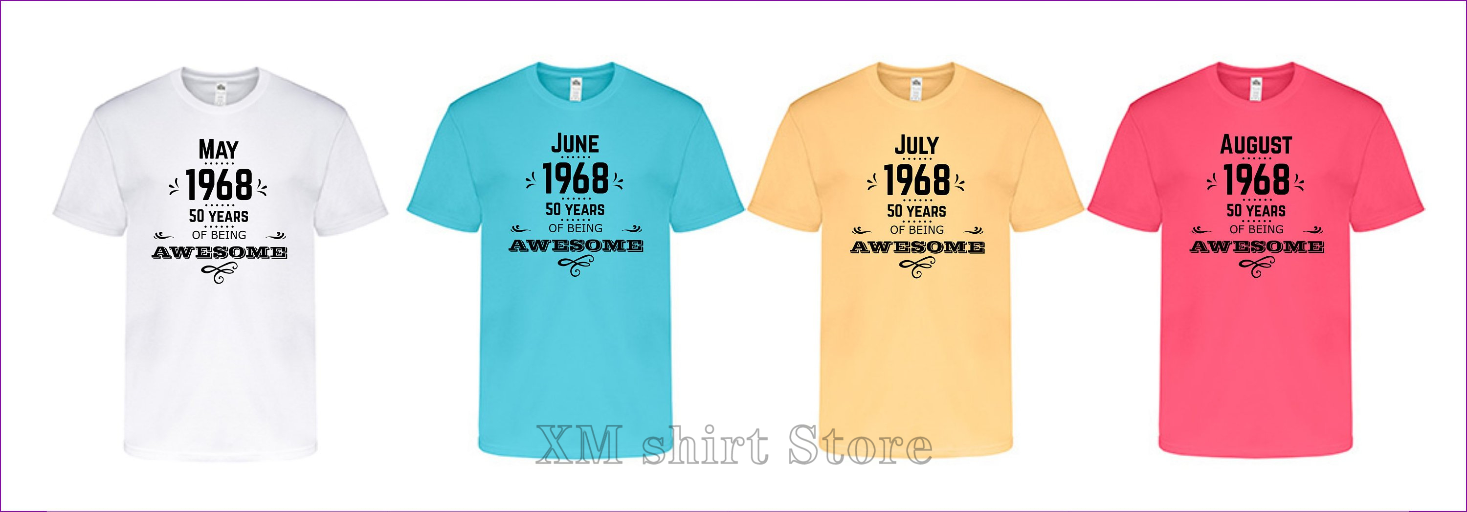 50th Birthday May June July August 1968 Men T-shirt Black Gold Blue Coral Yellow Summer 100% Cotton Gift