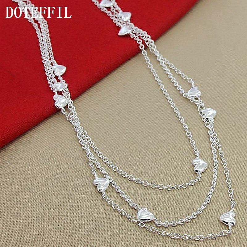 bdd7c8284ed8 Moda 925 joyas de plata al por mayor 925 muchos corazones collar plata 925  envío libre collar de la joyería de las mujeres
