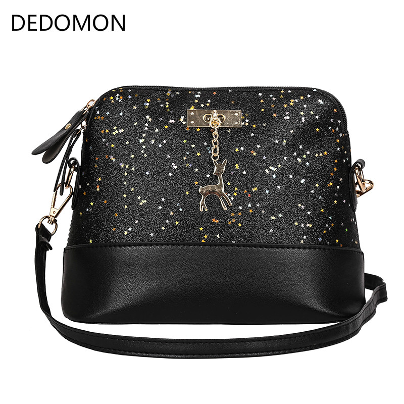 Vintage Sequins Splice Leather Women Bags Fashion Small Shell Bag With Deer Toy Women Shoulder Bag Casual Crossbody Bag women multilayer shoulder bags women pu leather small bag 2018 new retro shell crossbody bags girl casual shoulder bag
