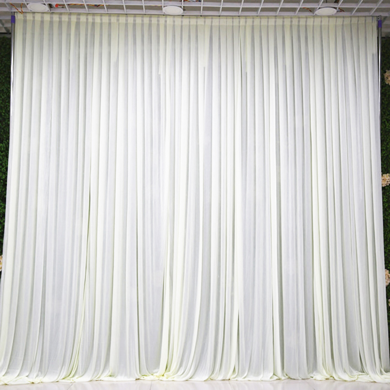 3X3M Simple white ice silk wedding backdrop event party drape curtain for wedding party home decoration