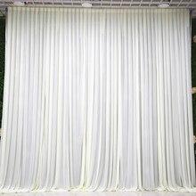 3X3 متر بسيط الأبيض الجليد الحرير الزفاف خلفية الحدث الستارة لحفلات الزفاف زينة لحفلات المنازل خلفية 10ft * 10ft