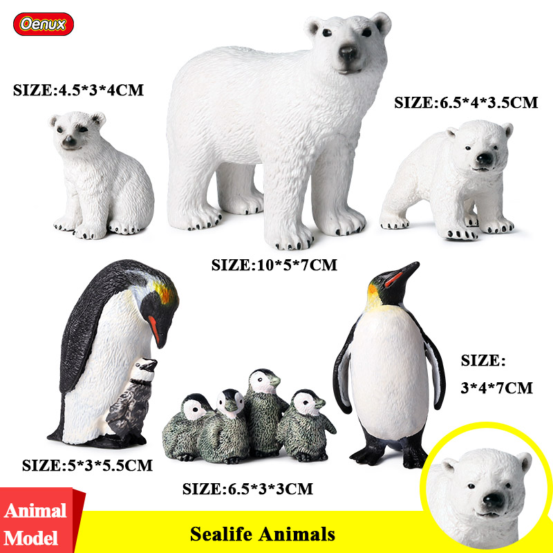 Oenux 6PCS Arctic South Pole Animals Simulation Penguins Polar Bear Family Action Figures Model Figurine PVC Lovely Kid Toy