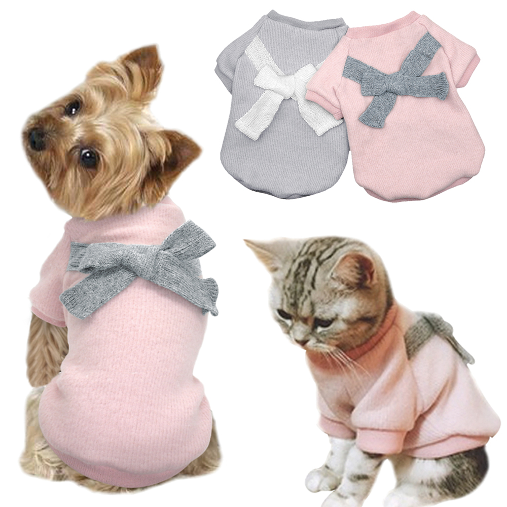 Warm Winter Cat Clothes Hoodie Soft Fleece Pet Dog Custome Clothes Small Dogs Cats Coat Jacket Bowknot Outfit Perro Apparel Pink