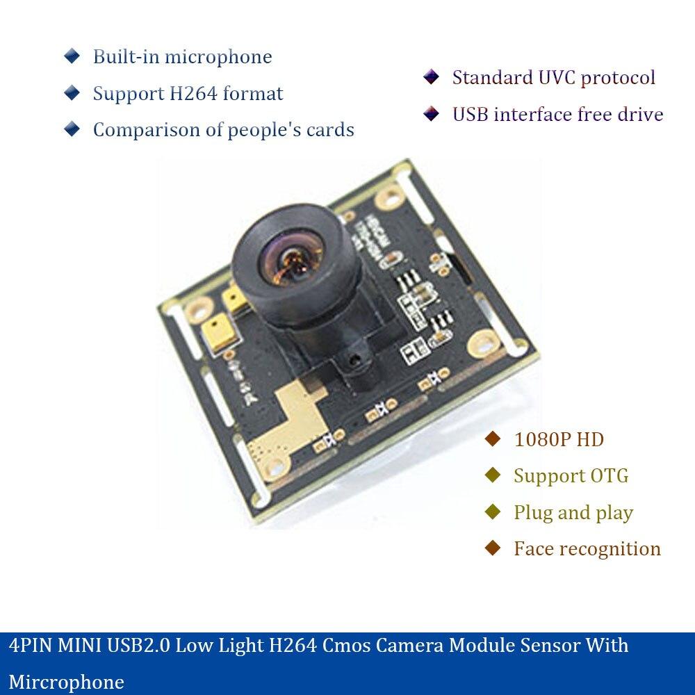 4PIN MINI USB2.0 low light H264.cmos camera module sensor with microphone