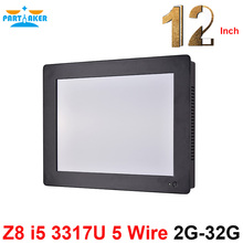 Partaker Z8 12.1 Inch Intel Core i5 3317u 2 RS232 All In One PC Computer with 2G RAM 32G SSD industrial touch panel pc