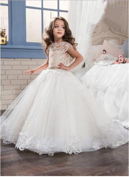 Ball Gown White Flower Girl Dresses for Weddings Pageant Party Kids Birthday First Communion Dresses 2017 Custom lovely new puffy flower girl dresses beaded overskirts floor length first communion dress pageant birthday gown 2017 custom new
