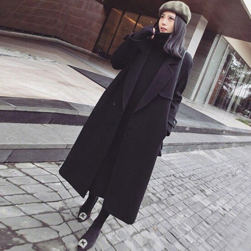 6b68ad06af82 2018 Mode Laine Femme Automne Long Veste Noir Xy061 Nouvelle Femelle De  Black Tempérament Manteau Moyen Hiver ...