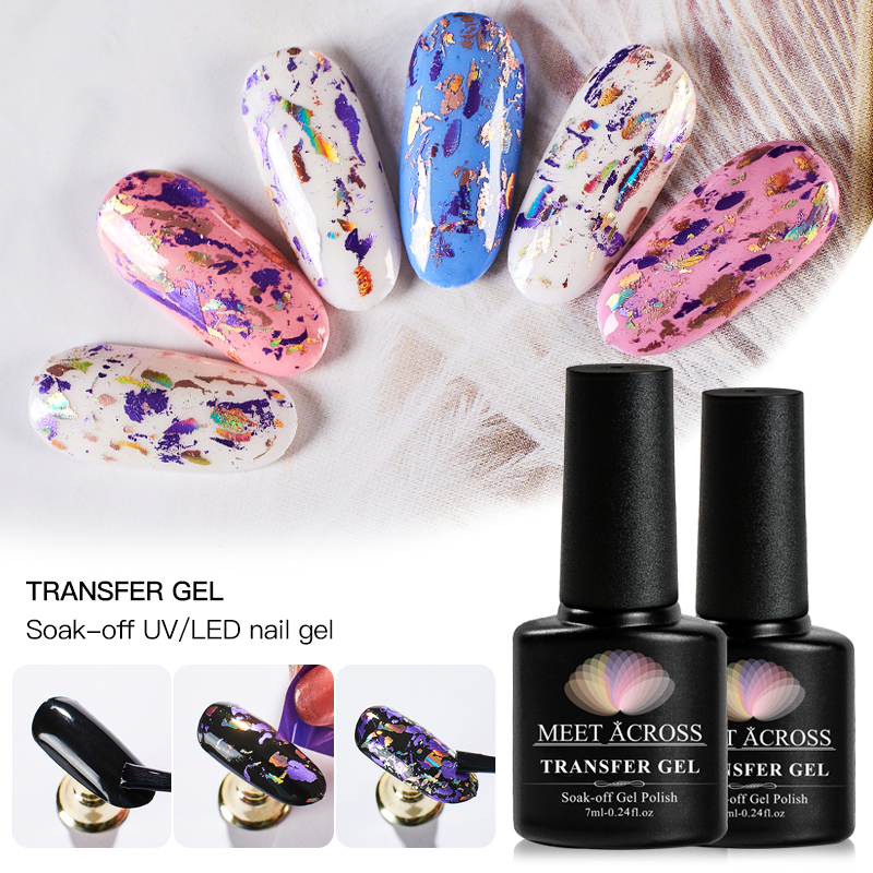 MEET ACROSS 7ml Nail Glue For Transfer Foil Sticker Starry Sky Glue DIY Nail Art Accessory Nails Tips Adhesives Tool