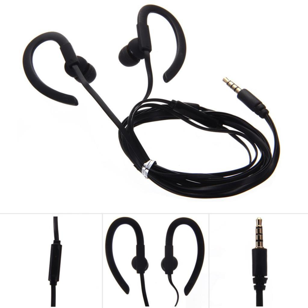 2015 new Top Quality 3.5mm Sport Stereo Earhook Headphones Earphone with Mic for Phone MP3 Black
