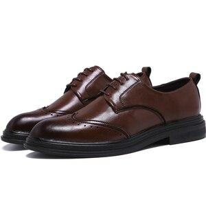 Image 2 - Hommes en cuir microfibre faits à la main Oxfords à lacets 2019 sculpté hommes daffaires chaussures formelles, hommes chaussures habillées