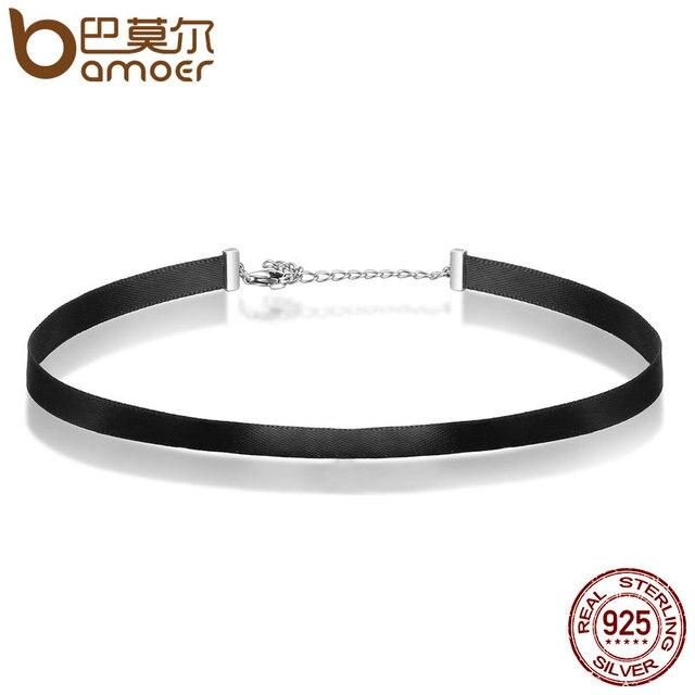 BAMOER 925 Sterling Silver & Black Braid Choker Necklace For Women Chocker Colar Jewelry Accessories 31CM+7CM SCA011