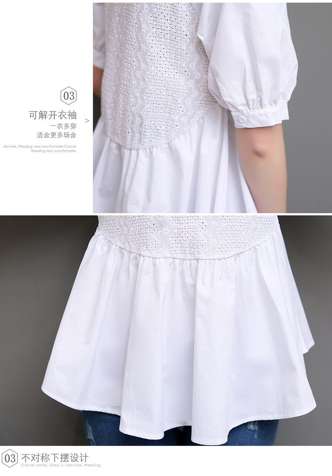 2020 lato z krótkim rękawem drążą białe bawełniane koszule  mOTps
