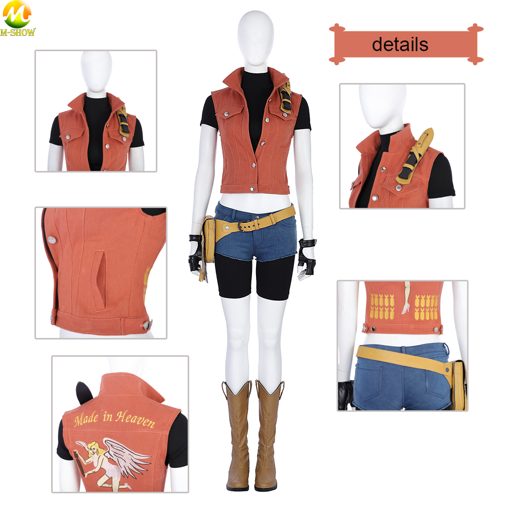 New Game Cosplay Denim vest Resident Evil 7 Claire Cosplay Costume Woman Fashion Denim vest And Shorts