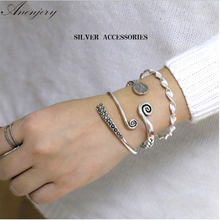 Anenjery Vintage 925 Sterling Silver 3 Models Handmade Caverd Twisted Thai Silver Cuff Bracelets & Bangls Spulseras S-B88(China)