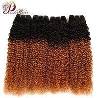 Pinshair Ombre 1B 30 Afro Kinky Krullend Weave Haar 4 Bundels Ombre Blonde Jerry Krullend Maleisische Menselijk Haar Niet Remy Haar Geen schuur
