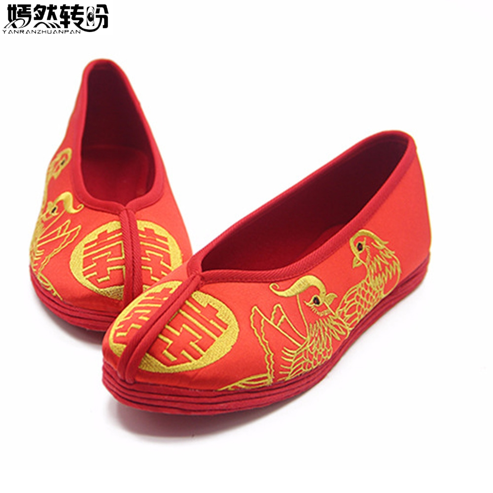 2018 New Women Flats Satin Shoes Chinese Wedding Bridal Shoes Embroidered Retro Red Dance Single Ballet Breathable Shoes Woman new women chinese traditional embroidered shoes f002