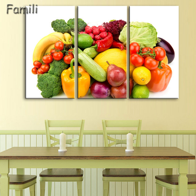 3pcs creative art canvas painting poster fruits vegetables on canvas wall pictures for dining hall kitchen home decor