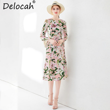 Delocah New Women Autumn Midi Dress Runway Fashion Flare Sleeve Elegant Floral Printed High Waist Casual Vacation A-Line Dresses