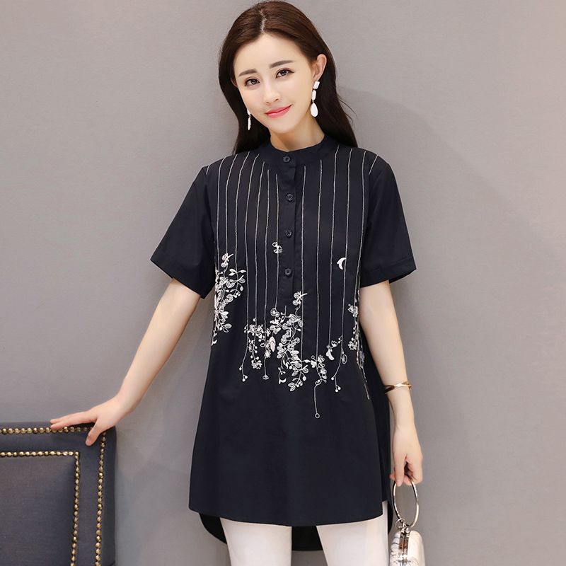 Luoyifxiong Womens Tops and Blouses 2018 Vintage Embroidery Women Shirts M-3XL Plus Size Short Sleeve Loose Casual Chemise Femme
