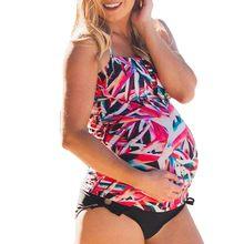2897f8fd3 MUQGEW flores impresión bikini traje de maternidad de la mujer Bañadores 2019  verano traje de baño bañadores traje de embarazada.