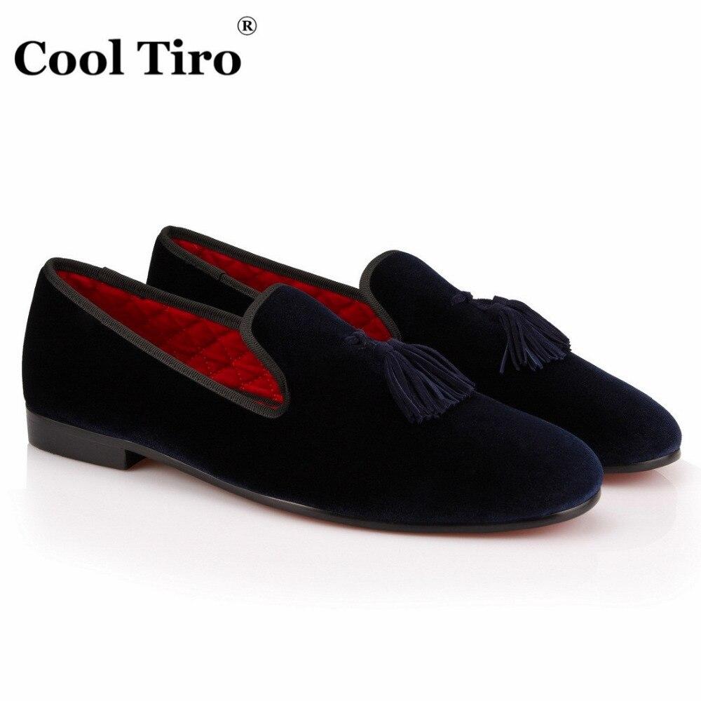 KÜHLE TIRO Quaste loafer Herren Samt Schuhe Handmade Marineblau ...