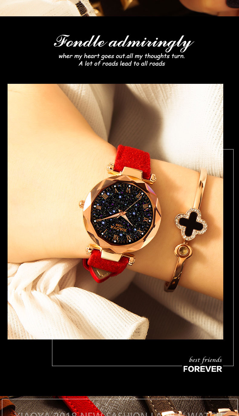Women'S Luxury Rose Gold Watch Top Fashion Starry Sky Arabic Quartz  Wristwatches Leather Strap Gifts Clock YOUNG Students Hours Bling Watches  Cheapest