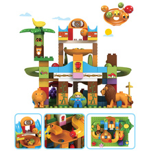 63-109pcs Animals Buildings Blocks Marble Race Run Maze Ball Track Children Funny Funnel Slide Bricks Toys Gifts