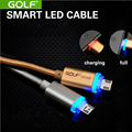 Golf Metal Braided Wire Micro LED USB Cables V8 Charging Data Cable 1M 2.1A For iphone 7 plus Samsung Galaxy S3 S4 Meizu HTC